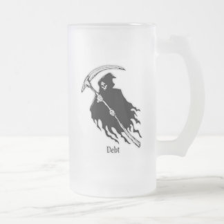 Debt Frosted Glass Beer Mug