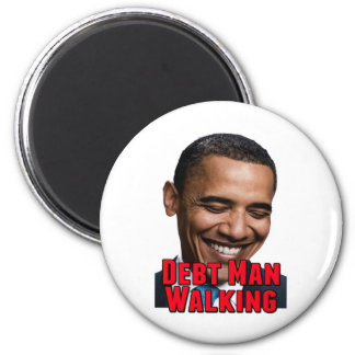 Debt Man Walking Obama 2 Inch Round Magnet
