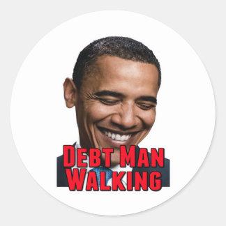 Debt Man Walking Obama Classic Round Sticker