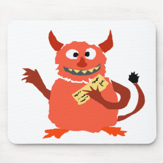 Debt Monster eating Paycheck Cartoon Mouse Pad