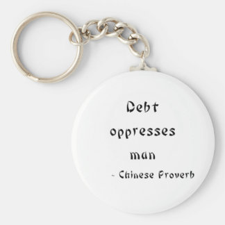 Debt oppresses man keychain