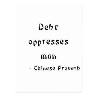 Debt oppresses man postcard