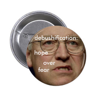 debushification: hope over fear pinback button