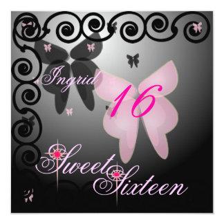 Debutant Butterfly Sweet Sixteen Pink/Black Invit. Card