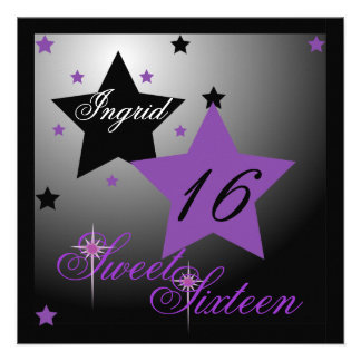 Debutant Star Sweet Sixteen-Cust. Personalized Invitations