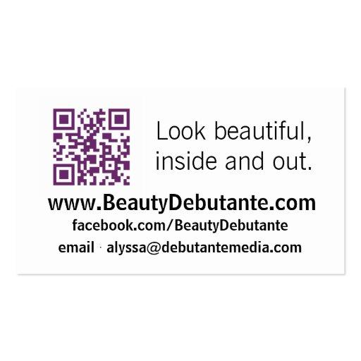 Debutante BCards de la belleza Tarjetas De Visita