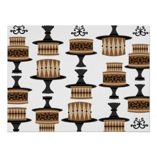 Decadant Chocolate Cake Pattern Poster