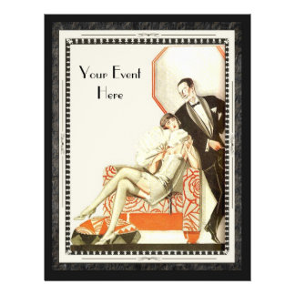 Decadent 1920s Art Deco Avant Garde Couple Full Color Flyer