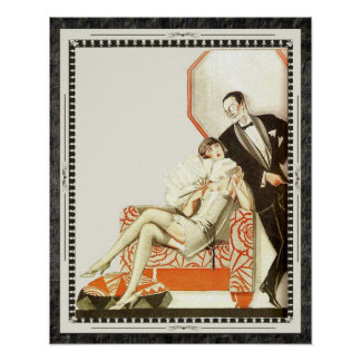 Decadent 1920s Art Deco Avant Garde Couple Poster