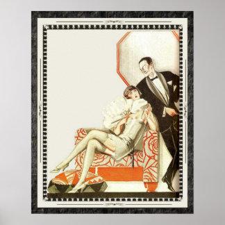 Decadent 1920s Art Deco Avant Garde Couple Poster