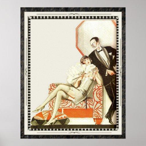 Decadent 1920s Art Deco Avant Garde Couple Posters