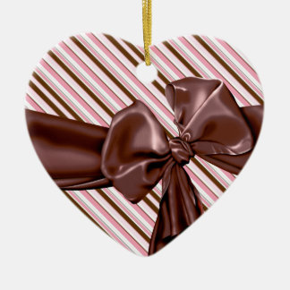 Decadent chocolate bow with stripes ceramic ornament