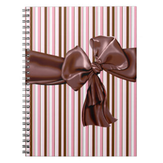 Decadent chocolate bow with stripes notebook