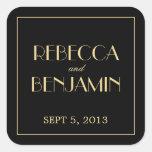 Decadent Deco elegant chic black wedding favor tag Square Sticker