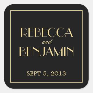 Decadent Deco elegant chic black wedding favor tag Sticker