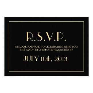 Decadent Deco elegant chic black wedding response Announcement