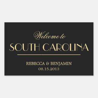 Decadent Deco elegant chic black welcome wedding Rectangular Sticker