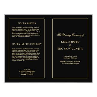 Decadent Deco elegant chic formal wedding program Flyers