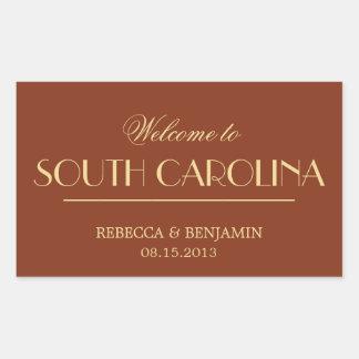 Decadent Deco elegant chic red welcome wedding Rectangular Sticker