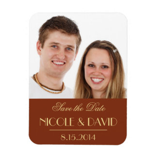 Decadent Deco elegant red wedding save the date Magnet
