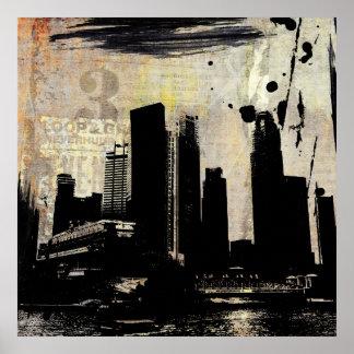 decaimiento urbano del paisaje urbano poster