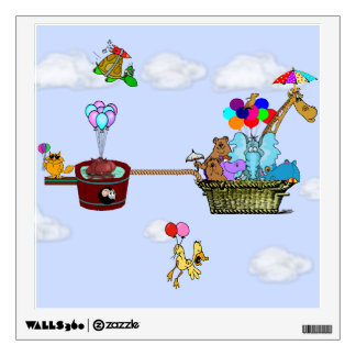 Decal Cute, Funny Animals Flying a Hot Air Balloon