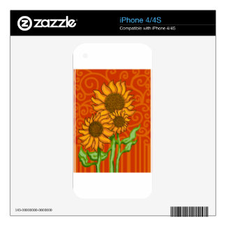 Decal for iPhone 4/Sunflower Trio iPhone 4S Decal