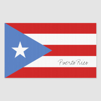 Decal with flag of Puerto Rico: Personalized Rectangular Sticker