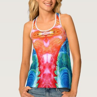 DECALCOMANIA PATTERN TANK TOP