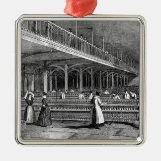 Decano Mills - el cuarto de duplicación, 1851 Adorno Cuadrado Plateado