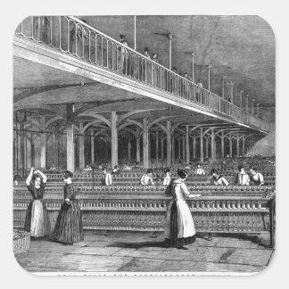 Decano Mills - el cuarto de duplicación, 1851 (lit Calcomanías Cuadradas Personalizadas