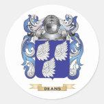Decanos escudo de armas etiquetas redondas
