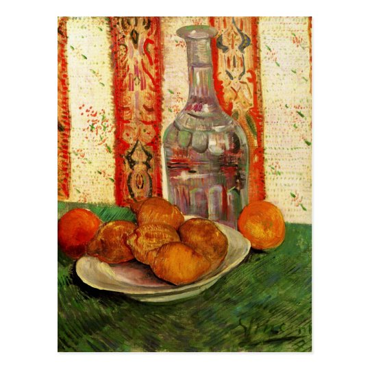 Decanter and Lemons on a Plate by van Gogh Postcard