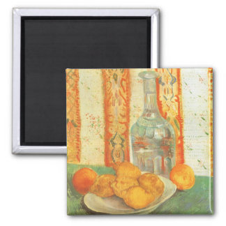 Decanter and Lemons on a Plate by Vincent van Gogh 2 Inch Square Magnet