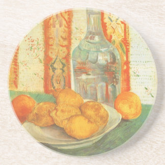 Decanter and Lemons on a Plate by Vincent van Gogh Drink Coaster