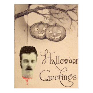 Decapitated Head Jack O Lantern Pumpkin Full Moon Postcard