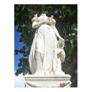 Decapitated statue in Martinique Postcard