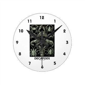 Decápodos Ernesto Haeckel Artforms de la Reloj Redondo Mediano