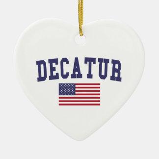 Decatur AL US Flag Ceramic Ornament