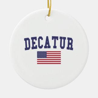 Decatur IL US Flag Ceramic Ornament