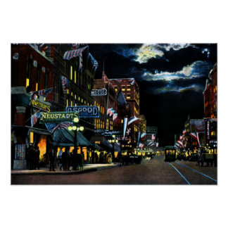 Decatur Illinois North Water Street at Night Poster