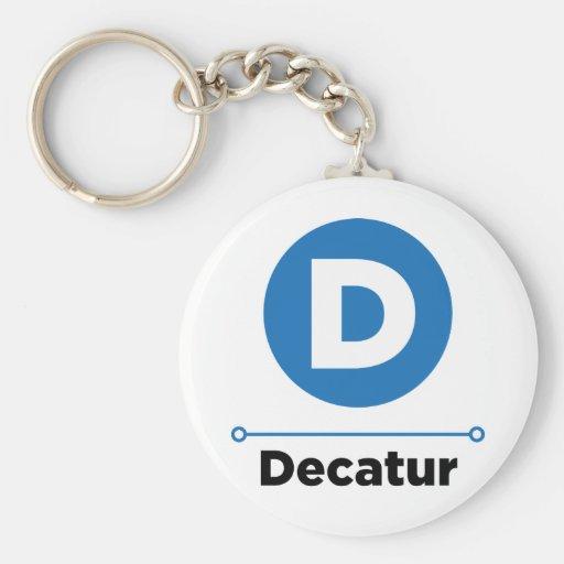 Decatur line basic round button keychain
