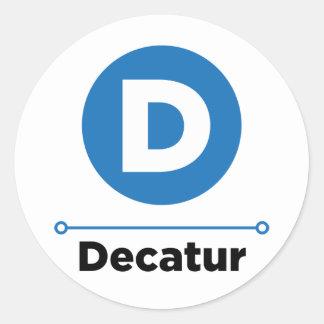 Decatur line round stickers