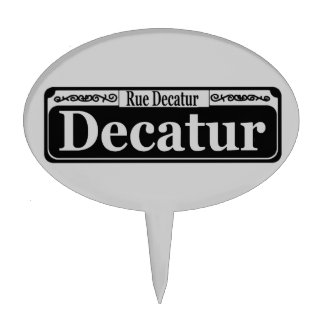 Decatur St. Small Plastic Sign Cake Topper