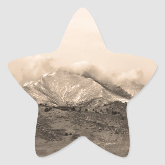 December 16th Twin Peak Sunrise Sepia View Star Sticker