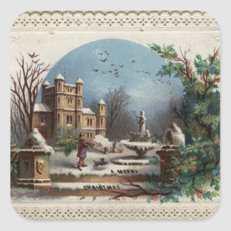 December 1872: The gardener collects holly Square Sticker