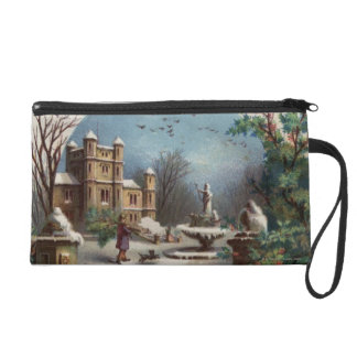 December 1872: The gardener collects holly Wristlet Purse