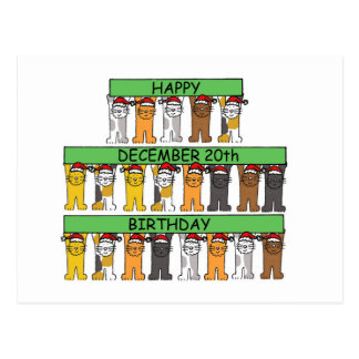 December 20th Birthdays celebrated by cats. Postcard