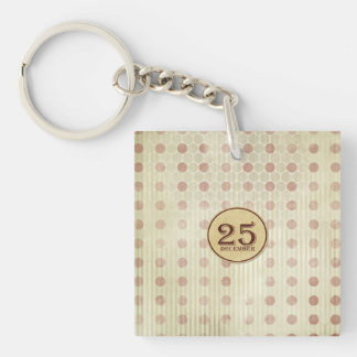 December 25th Button Paper Double-Sided Square Acrylic Keychain