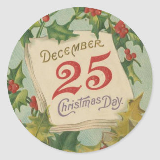 December 25th Christmas Day Classic Round Sticker